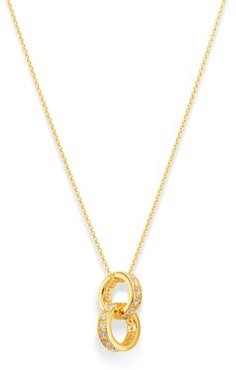 Diamond Interlocking Ring Pendant Necklace in 14K Yellow Gold 15-17, 0.25 ct. t.w. - 100% Exclusive