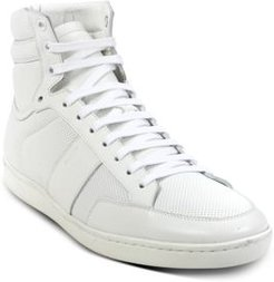 Court Classic Sl/10H High Top Perforated & Grained Leather Sneakers