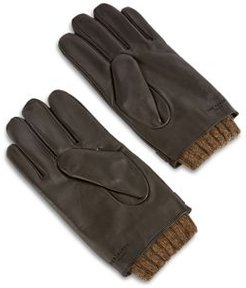 Knitted Ribbed Leather Gloves