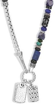 Sterling Silver Classic Chain Lapis Lazuli, Black Onyx, Grey Moonstone, Chrome Diopside and Turquoise Pendant Necklace, 22