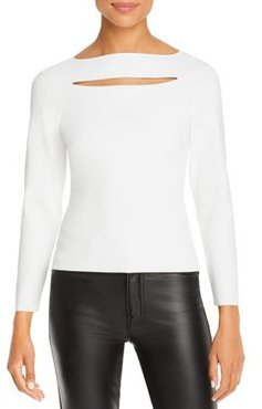 Cutout Front Long Sleeve Top