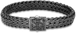 Blackened Sterling Silver Classic Chain Large Flat Link Bracelet with Black Sapphire