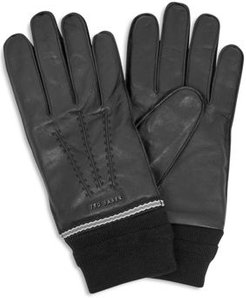 Quirk Knit-Cuff Leather Gloves
