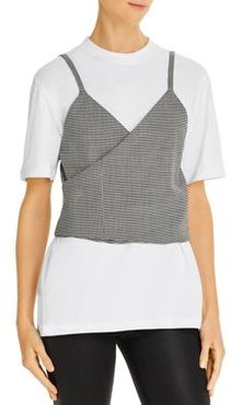Tee with Cropped Houndstooth Vest