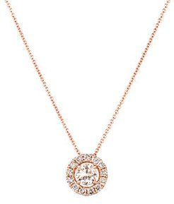 Diamond Halo Pendant Necklace in 14K Rose Gold, 0.78 ct. tw. - 100% Exclusive