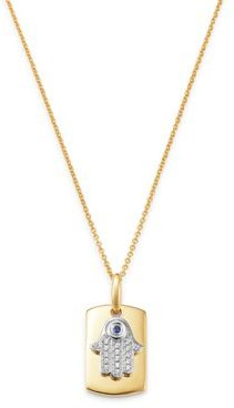 Blue Sapphire & Diamond Hamsa Hand Dog Tag Pendant Necklace in 14K Yellow Gold, 18 - 100% Exclusive