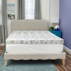 4 Charcoal Infused Memory Foam Mattress Topper, Queen