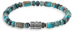 Sterling Silver Classic Chain Mixed Turquoise Bead Bracelet