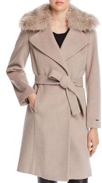 Fiona Faux Fur Trim Wrap Coat