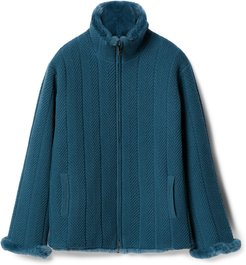 Fur and Cashmere Double Face Bomber Woman Blue Size L