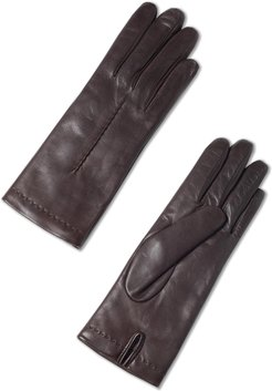 Cashmere Leather Gloves Woman Brown Size M/L