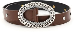 LEATHER BELT CHAIN AND CRYSTAL BUCKLE S Brown Leather