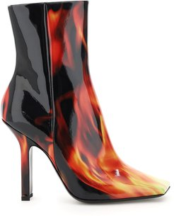 FLAMES PRINT BOOMERANG BOOTS 36 Black, Red, Yellow Leather