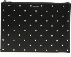 STARS CLUTCH OS Silver, Black Leather