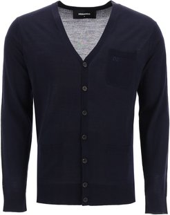 CARDIGAN WITH EMBROIDERED LOGO M Blue Wool