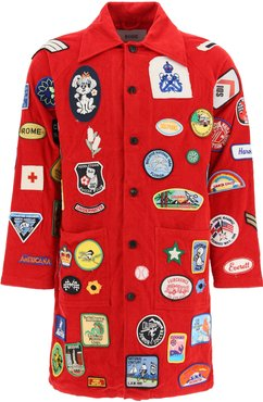 COAT WITH VINTAGE MULTI PATCH S/M Red Cotton