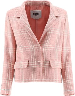 BOUCLE TARTAN JACKET 38 Pink, White Cotton