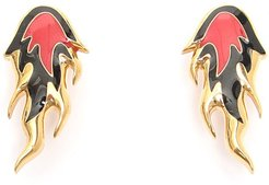FLAME EARRINGS OS Gold, Red, Black