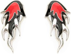 FLAME EARRINGS OS Silver, Red, Black