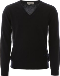 PULLOVER WITH EMBROIDERED LOGO S Blue Cashmere