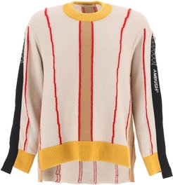 COLOR BLOCK ASYMMETRICAL SWEATER 2 Beige, Red, Yellow Wool