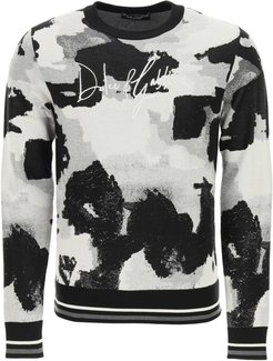 CAMOUFLAGE SWEATER WITH LOGO EMBROIDERY 46 Black, Grey, White Silk