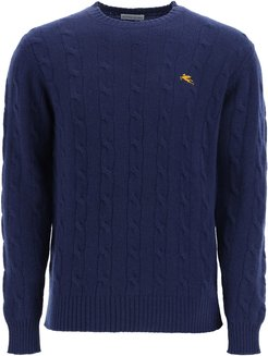 CABLE KNIT WOOL SWEATER S Blue Wool