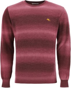 SHADED SWEATER WITH LOGO EMBROIDERY S Red Wool