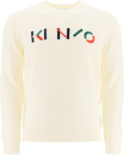 SWEATER WITH MULTICOLOUR LOGO EMBROIDERY L White Wool