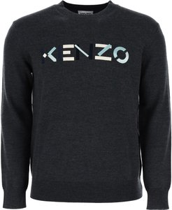 SWEATER WITH MULTICOLOUR LOGO EMBROIDERY M Grey Wool
