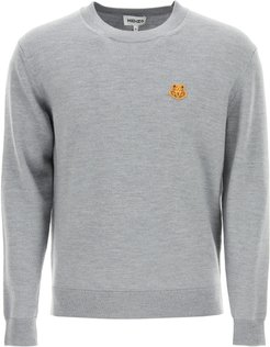 SWEATER WITH TIGER CREST PATCH S Grey Wool