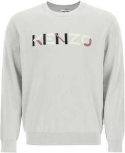 SWEATER WITH MULTICOLOUR LOGO EMBROIDERY S Grey, Black, Yellow Cotton