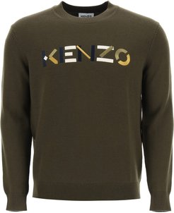 SWEATER WITH MULTICOLOUR LOGO EMBROIDERY S Green Wool