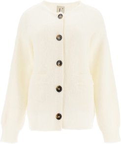 BUTTONED CARDIGAN M White Wool