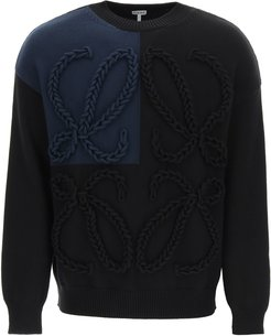 ANAGRAM EMBROIDERED SWEATER S Blue, Black Cotton