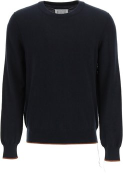 CREW NECK SWEATER WITH ELBOW PATCHES M Blue, Brown Cotton, Wool