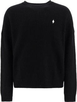 SWEATER WITH MBCM PATCH L Black, White Wool