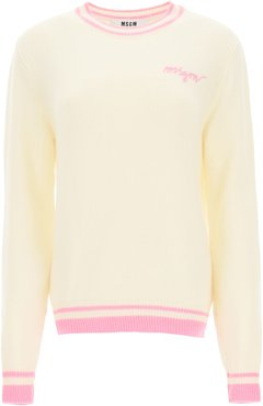 SWEATER WITH LOGO EMBROIDERY XS White, Pink Wool, Cashmere