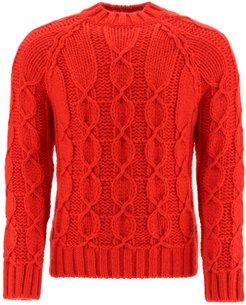 MOHAIR WOOL CABLE-KNIT SWEATER XL Red Wool