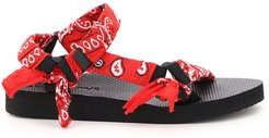TREKKY BANDANA SANDALS 36 Red, White, Black Cotton