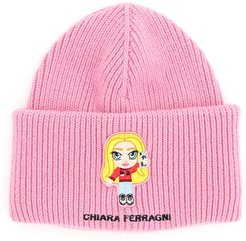 CFMASCOTTE EMBROIDERED BEANIE OS Pink, Silver Wool, Cashmere