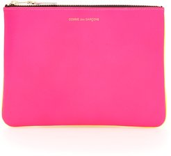 SUPER FLUO POUCH OS Fuchsia, Yellow Leather