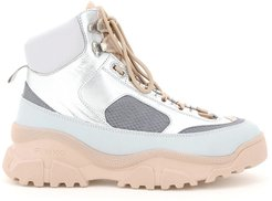 LOVE TREK 1 HIGH SNEAKERS 35 Grey, Silver, Pink Leather, Technical