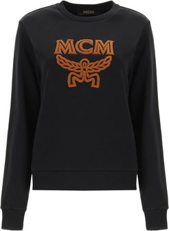 SWEATSHIRT WITH LOGO EMBROIDERY XS Black, Brown Cotton