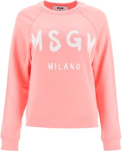 SWEATSHIRT LOGO BRUSH PRINT S Pink, White Cotton