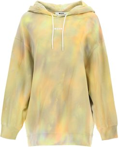 HOODIE WITH TIE-DYE MOTIF L Beige, Green, Orange Cotton