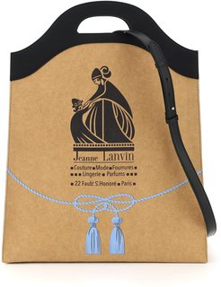 MEDIUM TOTE WITH GROCERY LOGO PRINT OS Beige, Black, Light blue Faux leather