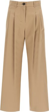 CROCHET WIDE LEG TROUSERS 42 Brown Leather, Cotton