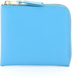 COLOR BLOCK WALLET OS Light blue Leather