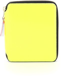 SUPER FLUO WALLET OS Yellow, Fuchsia Leather